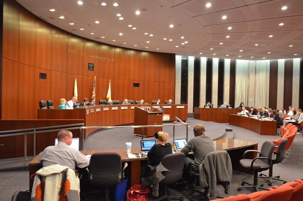 City hall meeting in Naperville, Illinois