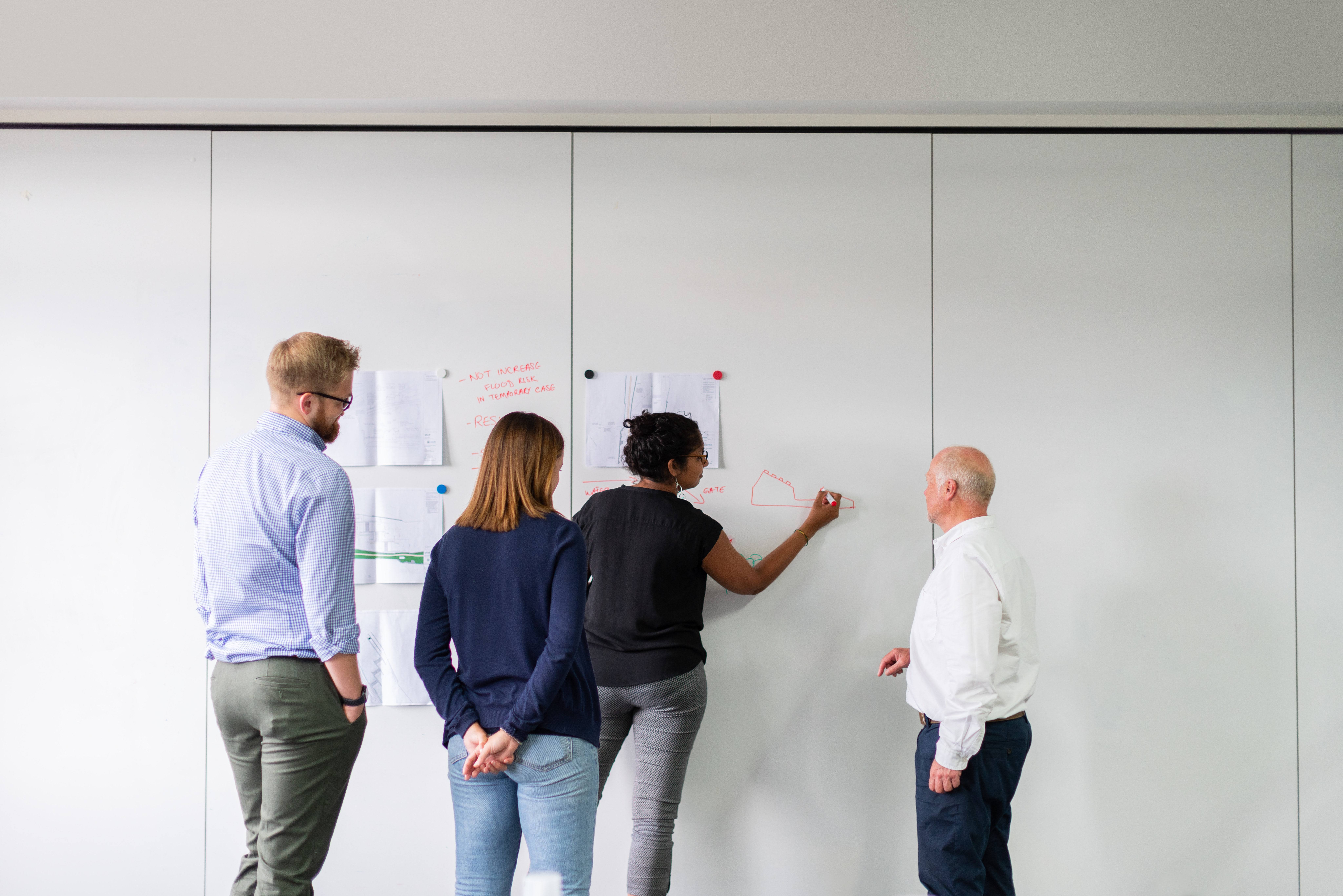 Group of colleagues standing at a whiteboard