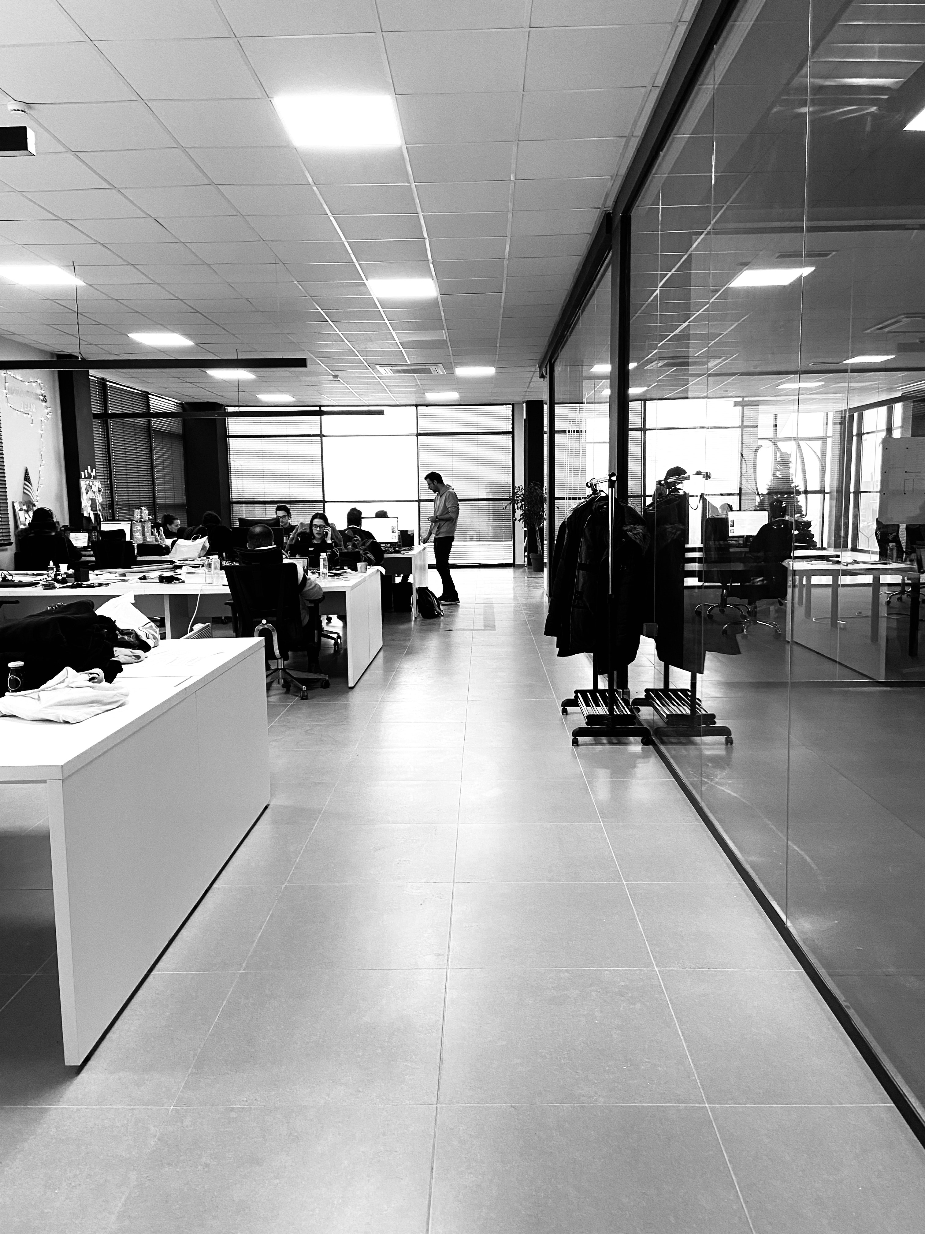 Black and white image of an office entrance