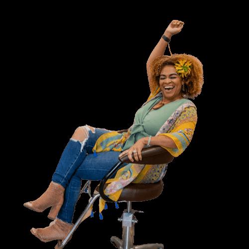 Brandie Kekoa sitting on chair