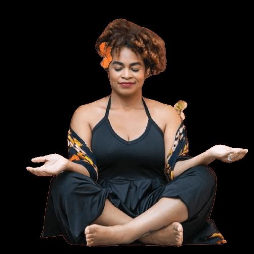 Brandie Kekoa sitting meditating