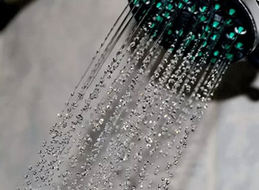 A shower head with water