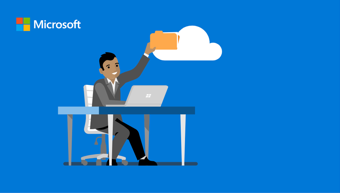 Microsoft 365 illustration of man uploading files to the cloud.