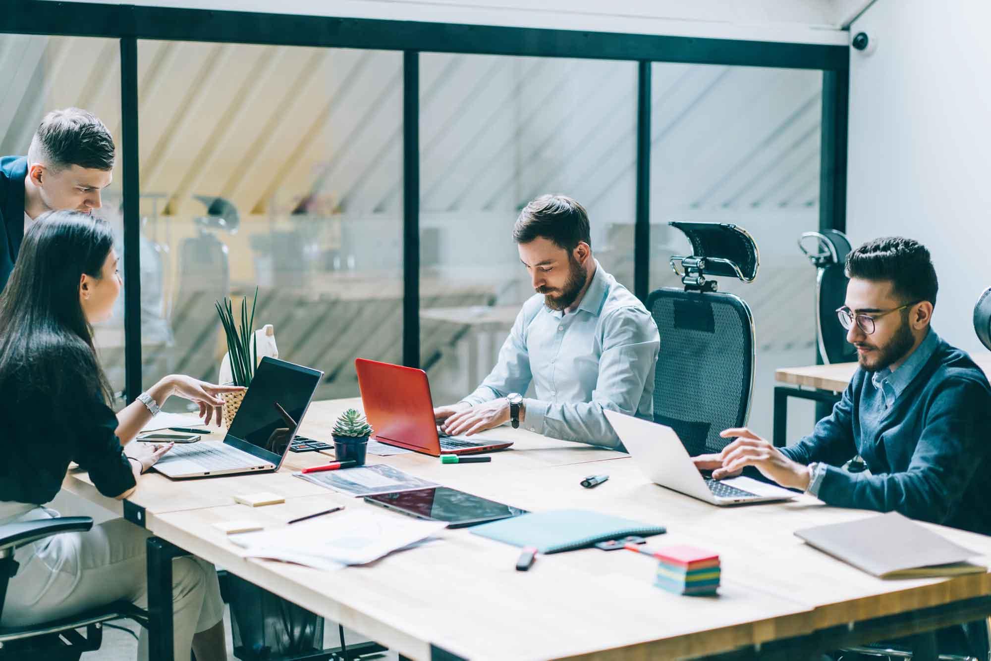 Team members working on laptops in an office.