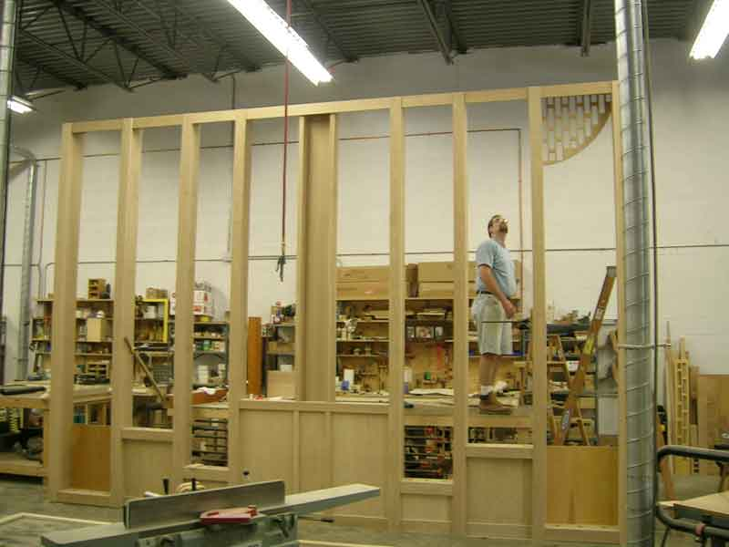Pipe shades being fitted to a case