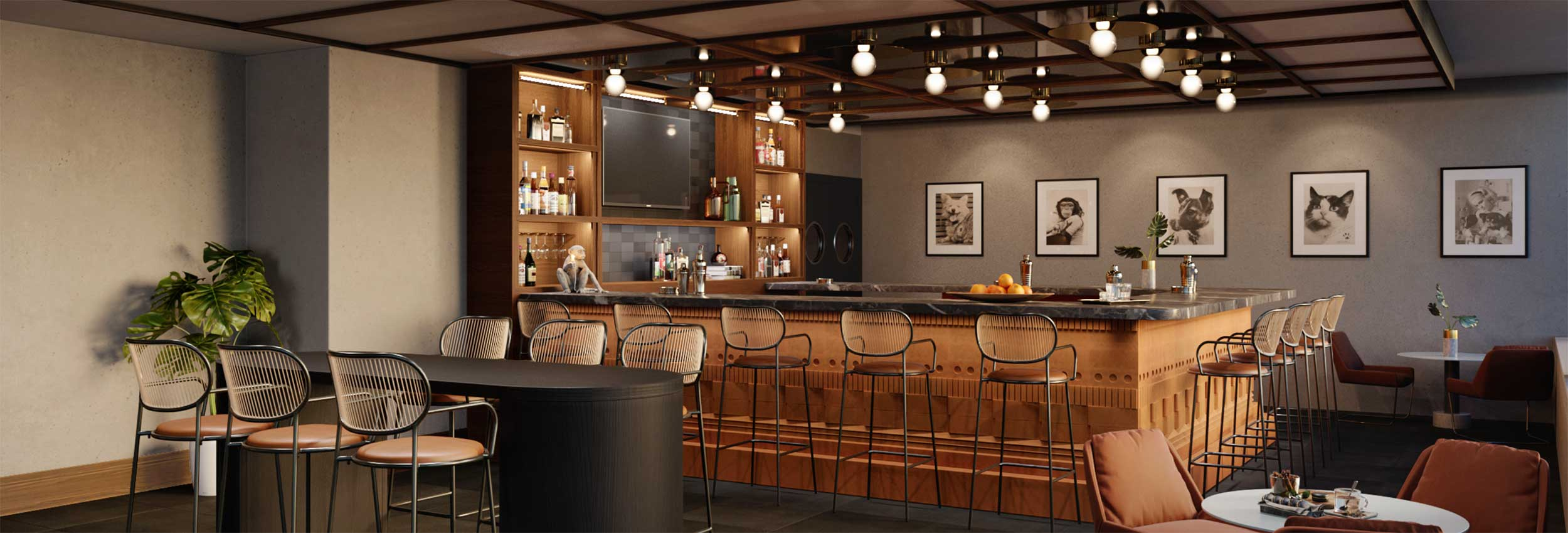 Rendering of the Corner Bar and Varied Seating at Baker & Able in Huntsville, AL