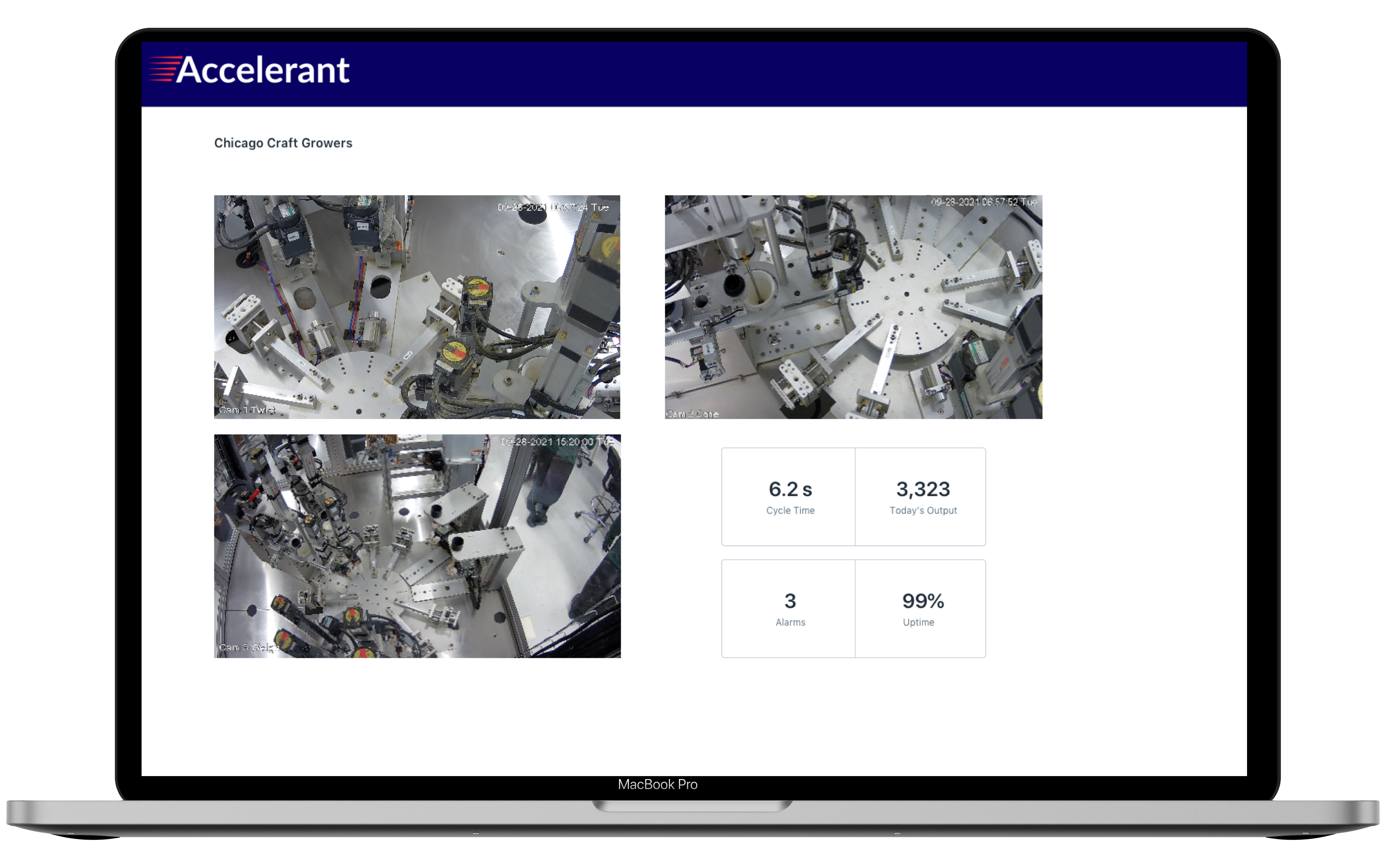 Accelerant's network operations center for monitoring machine performance and assisting customers using remote cameras.