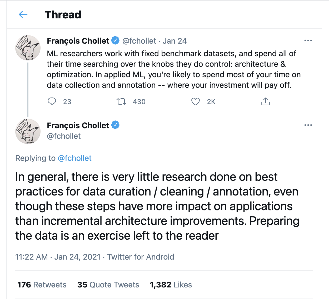 The above sentiment is conveyed by Francois Chollet - the creator of Keras (Source: https://twitter.com/fchollet/status/1353422914071142400)