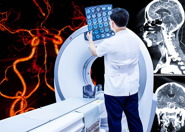 Doctor or radiologist in hospital looking ct scan image of the brain on 2D and 3D rendering background.