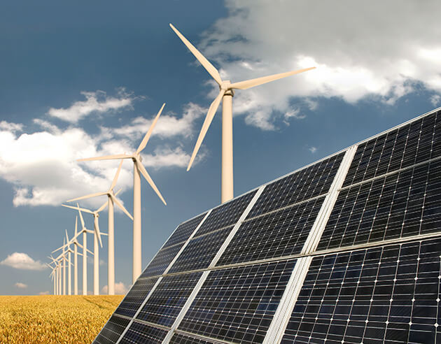 Solar panels and wind mills