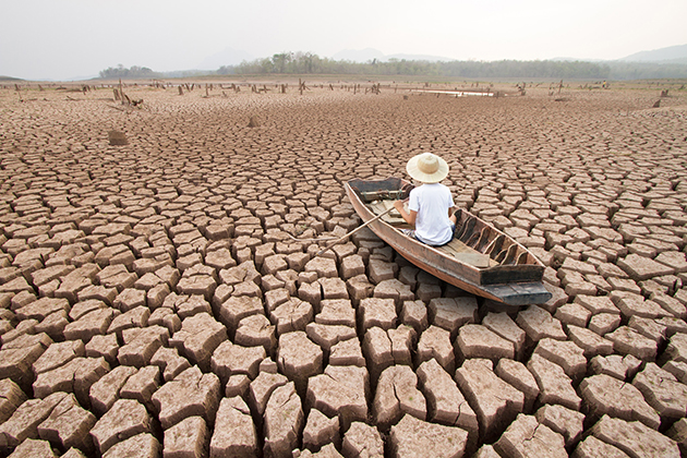Rowing across a dried river
