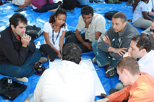 Team members discussing