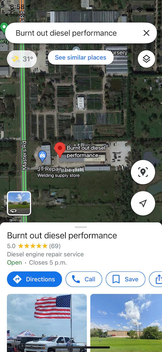 Burntout Diesel Performance Google My Business profile