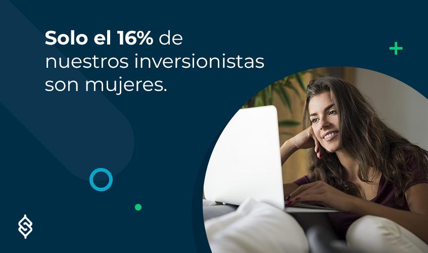 Solo el 16% de nuestros inversionistas son mujeres.