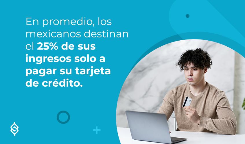 En promedio, los mexicanos destinan el 25% de sus ingresos solo a pagar su tarjeta de crédito.