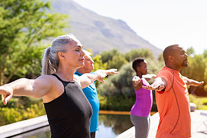 Group doing outdoor exercise