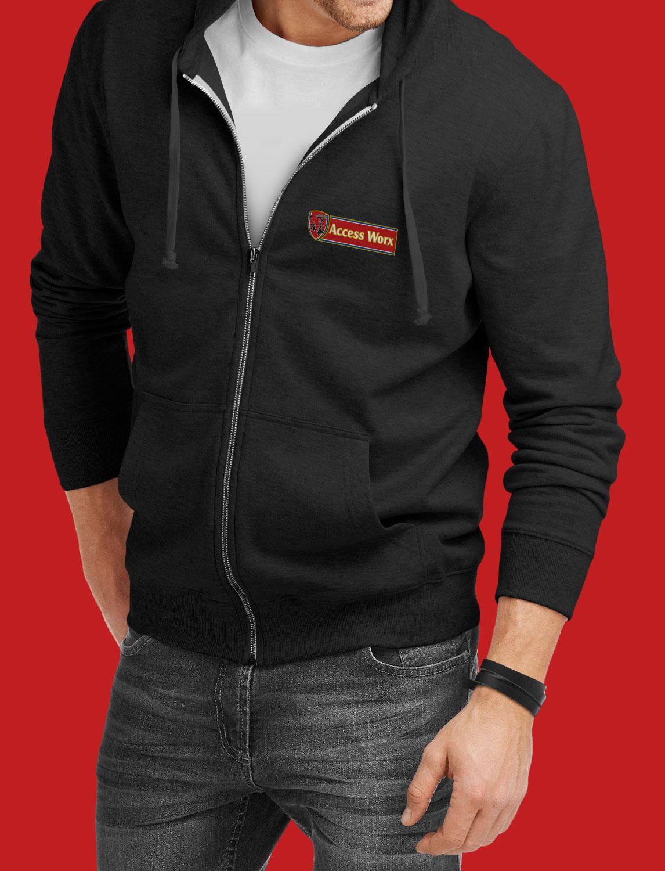 access sales wearing hoodie