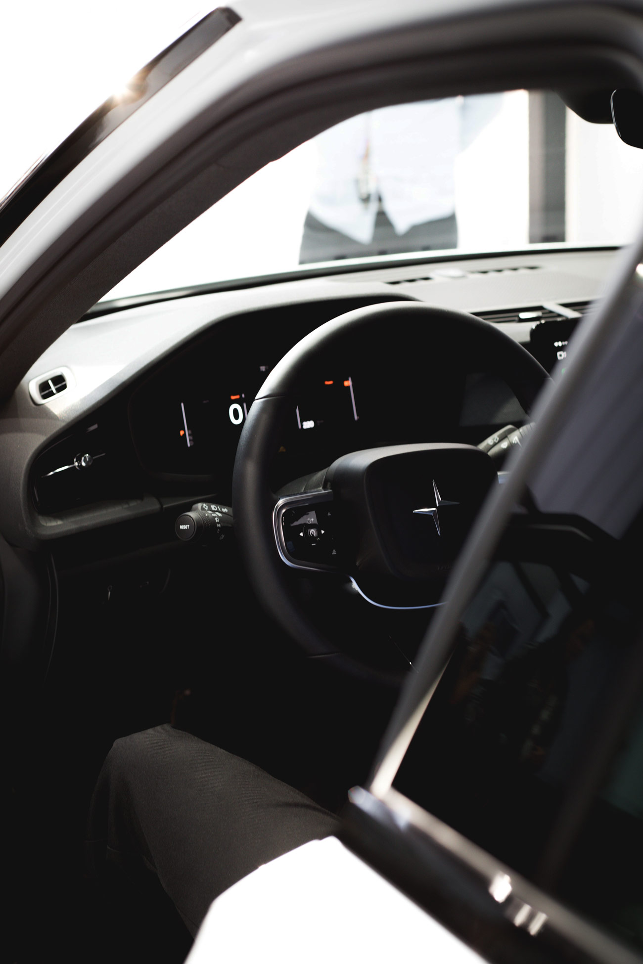 Interior view of clean car in black and white