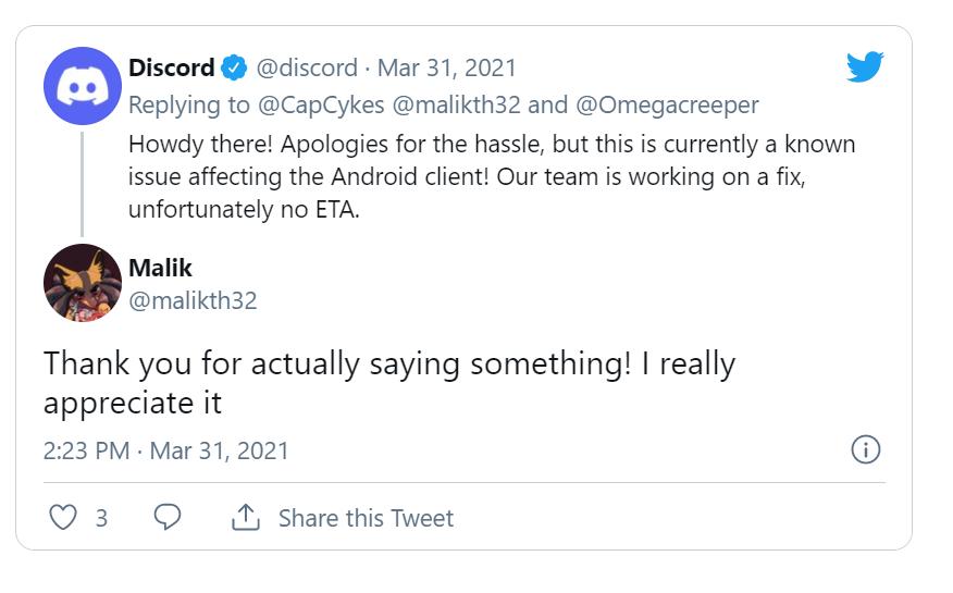 Discord Twitter support tweet