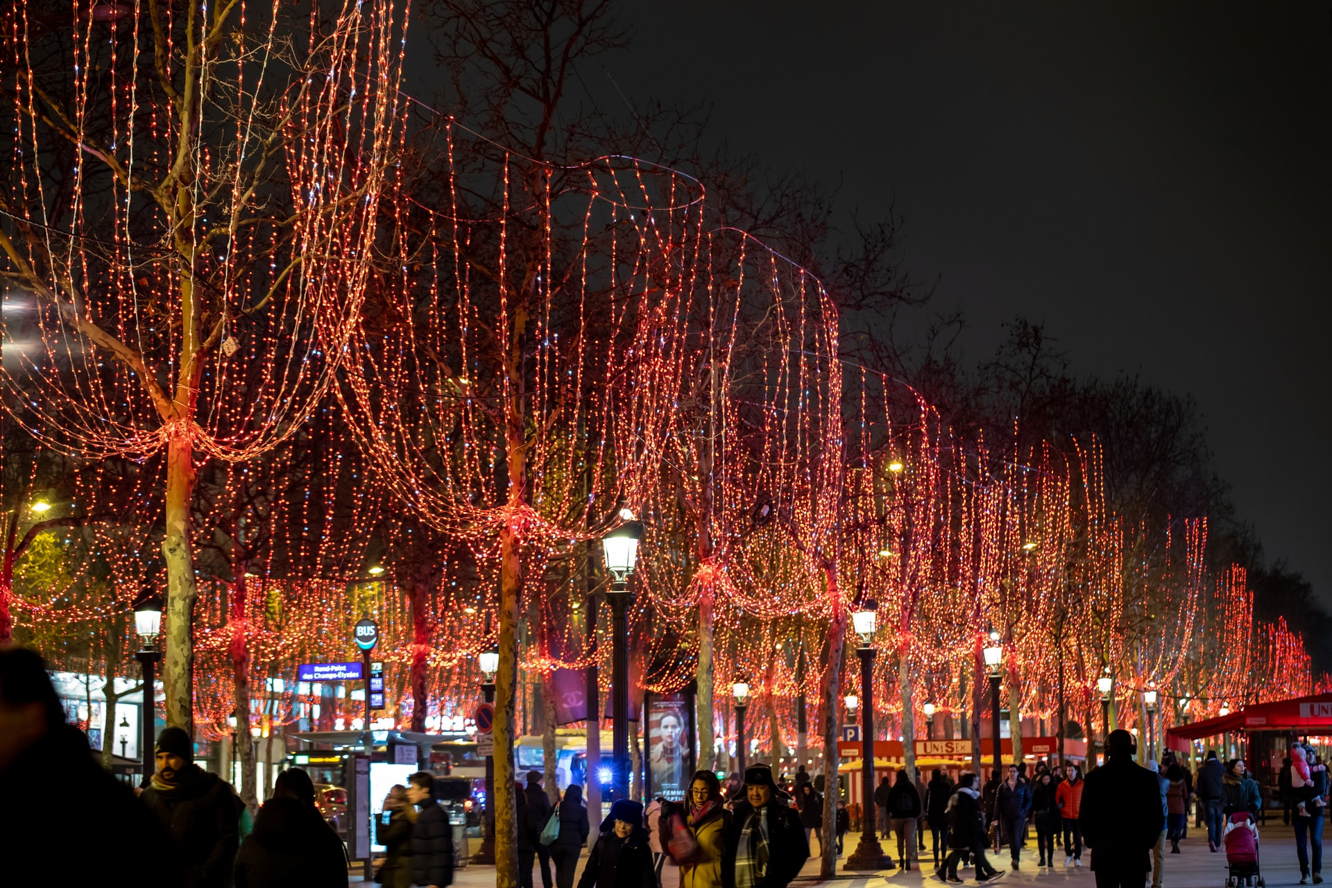 stock photo of Champs Elysees at night.