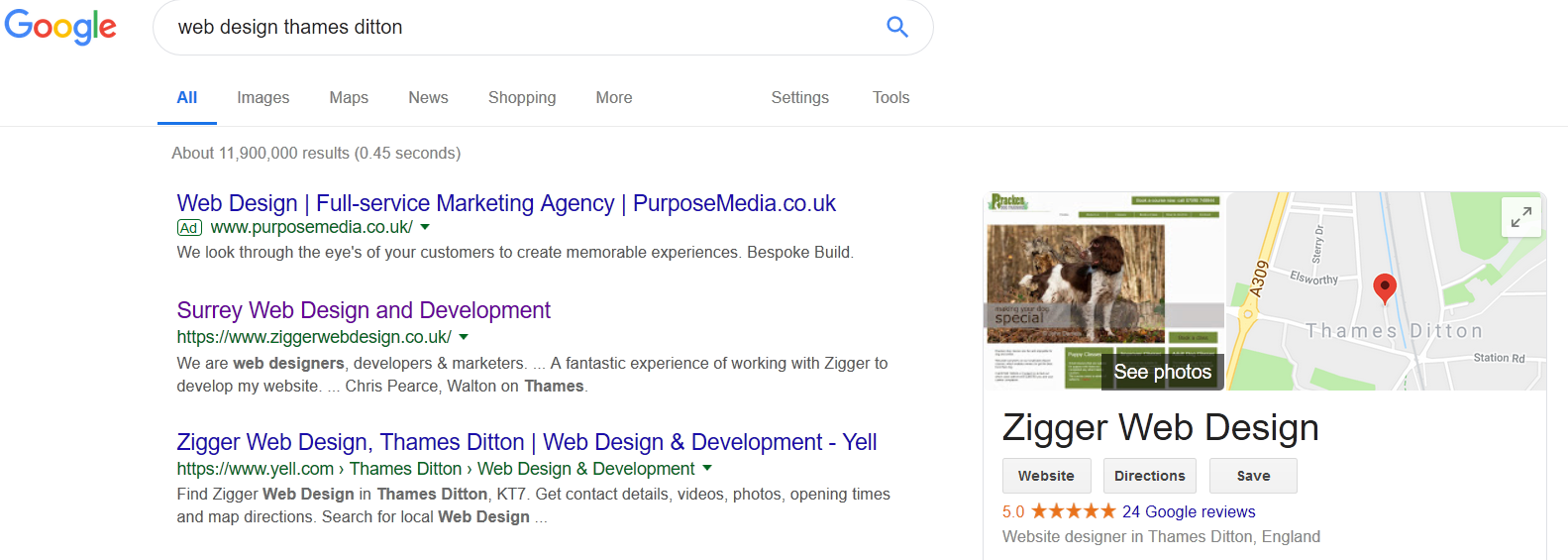 reviews graphic for Zigger Web Design