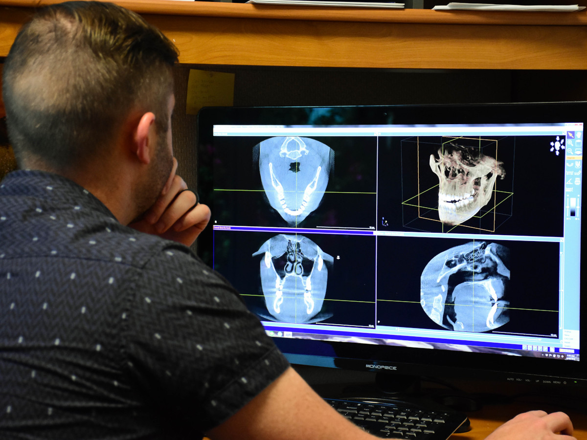 Daniel Masters watching a X-ray