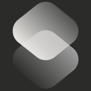 A white icon for Siri Shortcuts with two overlapping shapes