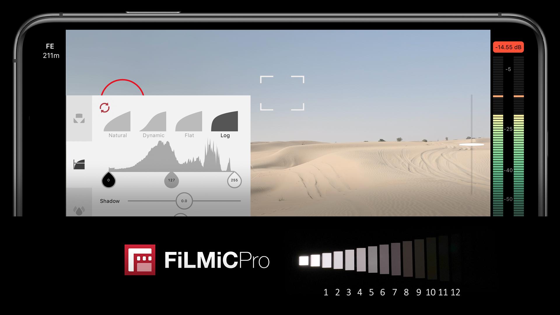 The Filmic Pro App shooting a desert scene