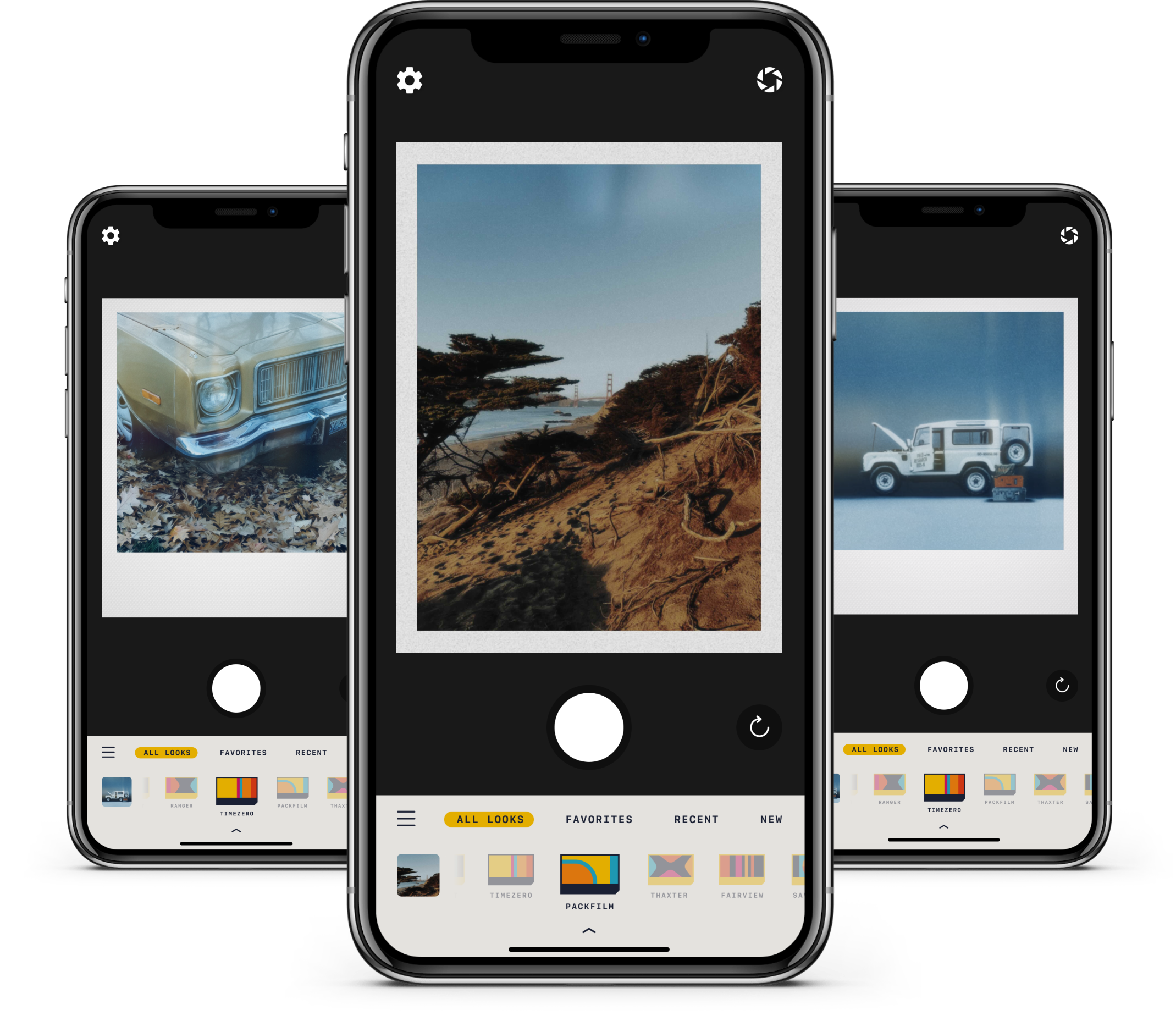 Images of RTRO being used in three different phone screens