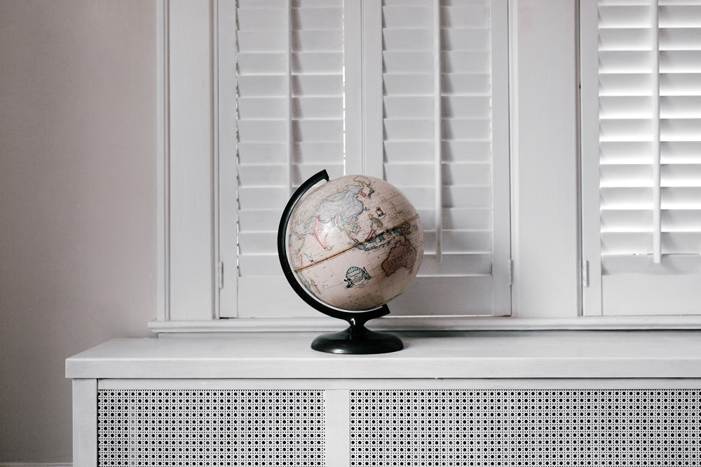 A globe on table