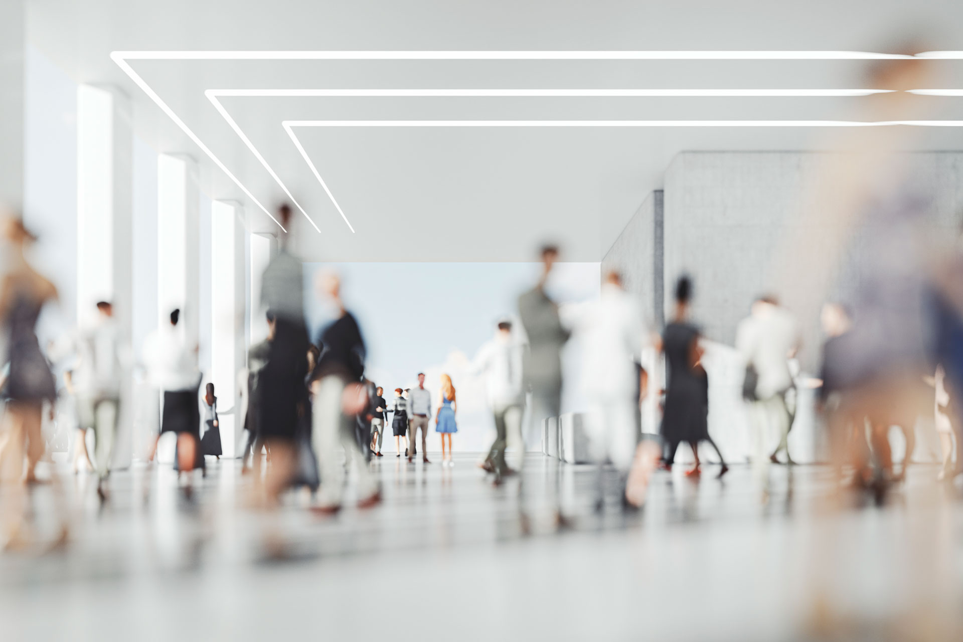Image of people moving through a workplace.
