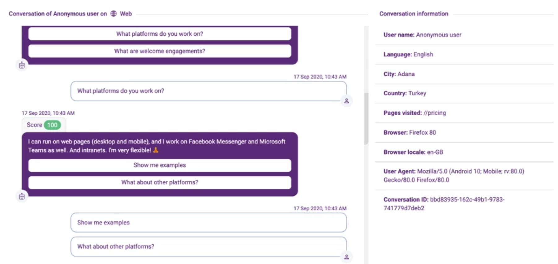 Example of FAQbot conversation history