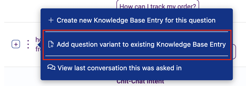 add question variant to existing knowedge base question