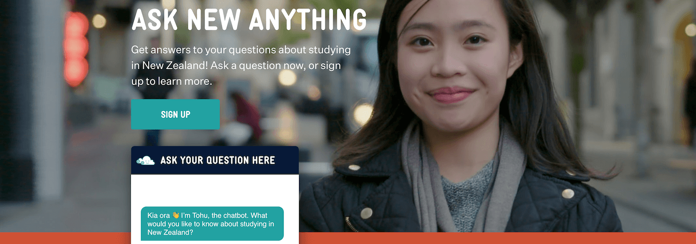 FAQ Bot Tohu encourages the world's international students to 'Ask New Anything'