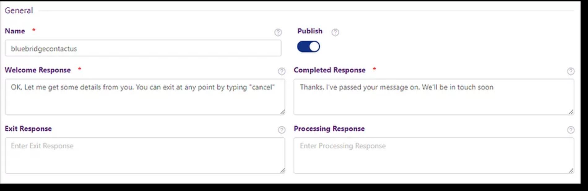 Form configuration FAQ bot