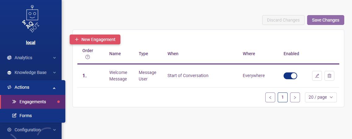 Welcome message setup