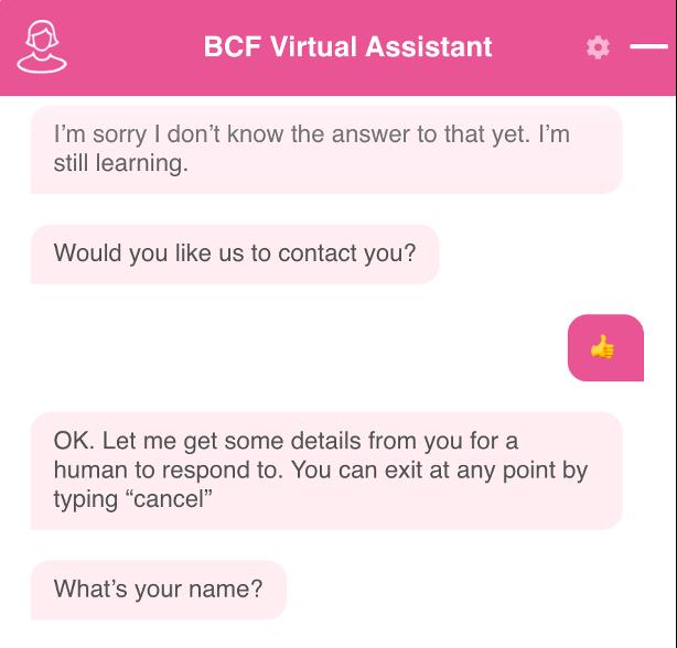 BCF chatbot contact process