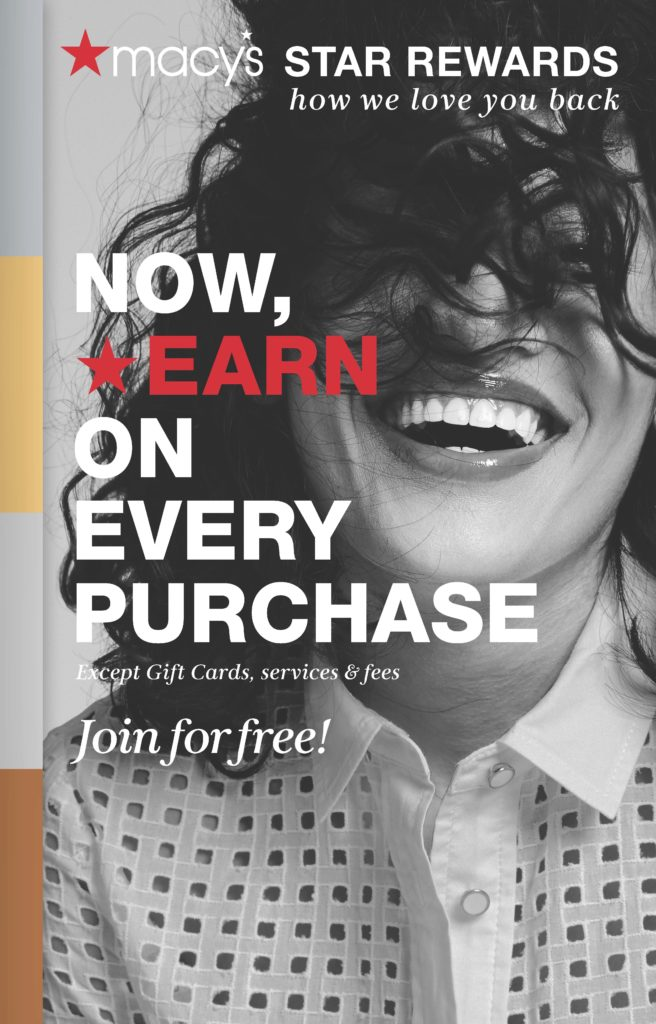 macys loyalty program information text and a model with curly hair smiling