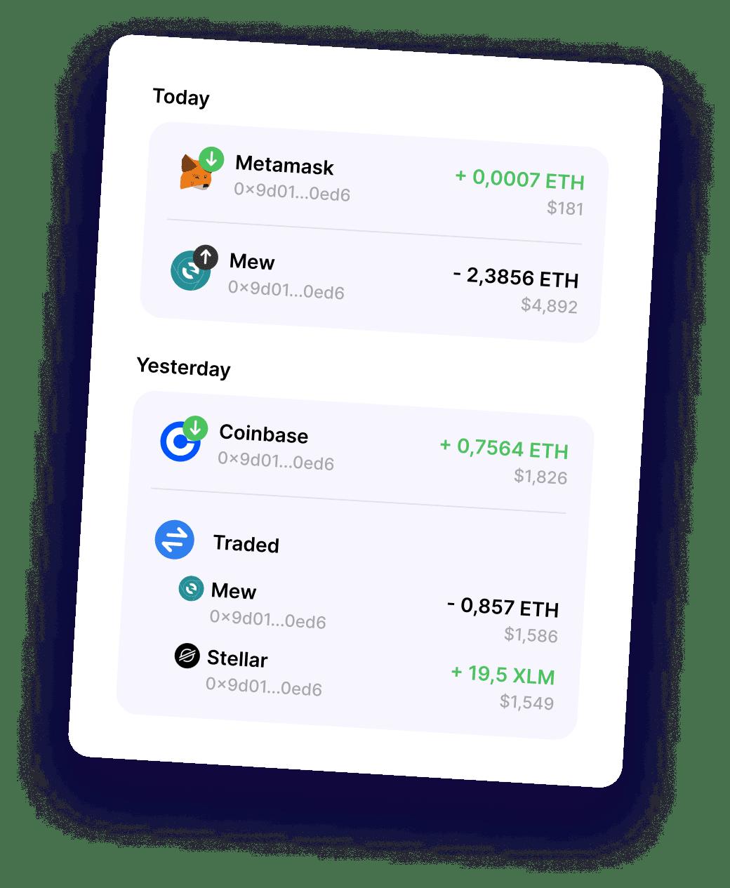 Transactions mockup