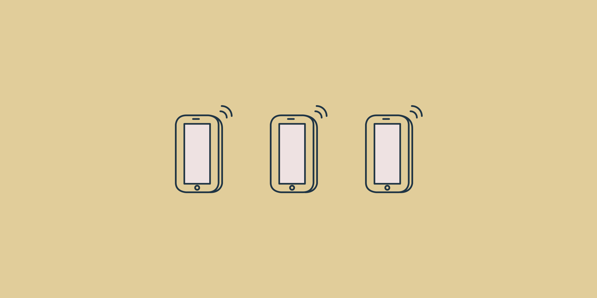 Three mobile phone icons