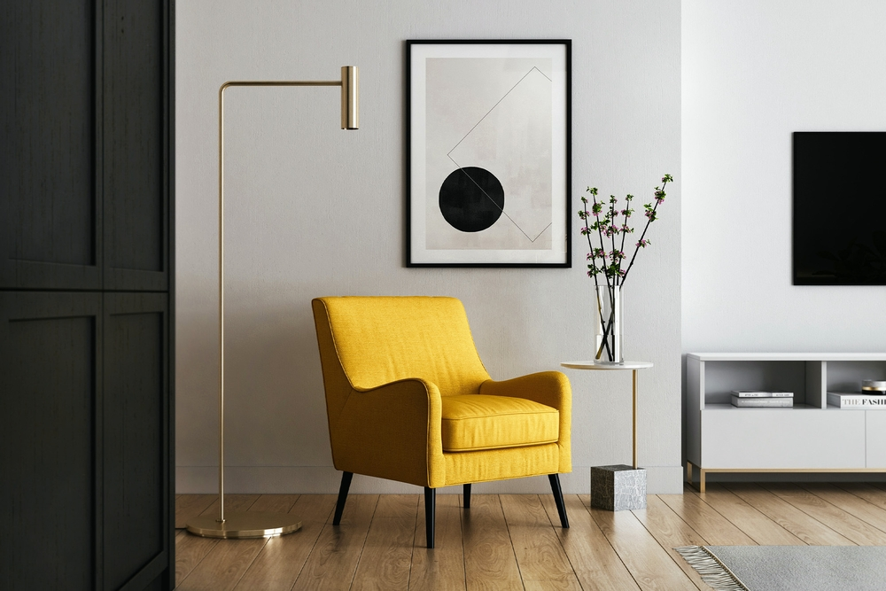 Home interior with yellow chair