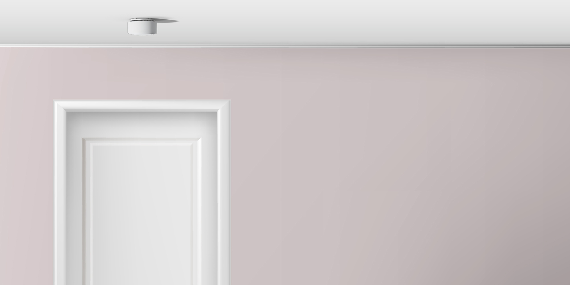 Home interior with Minut sensor on the ceiling
