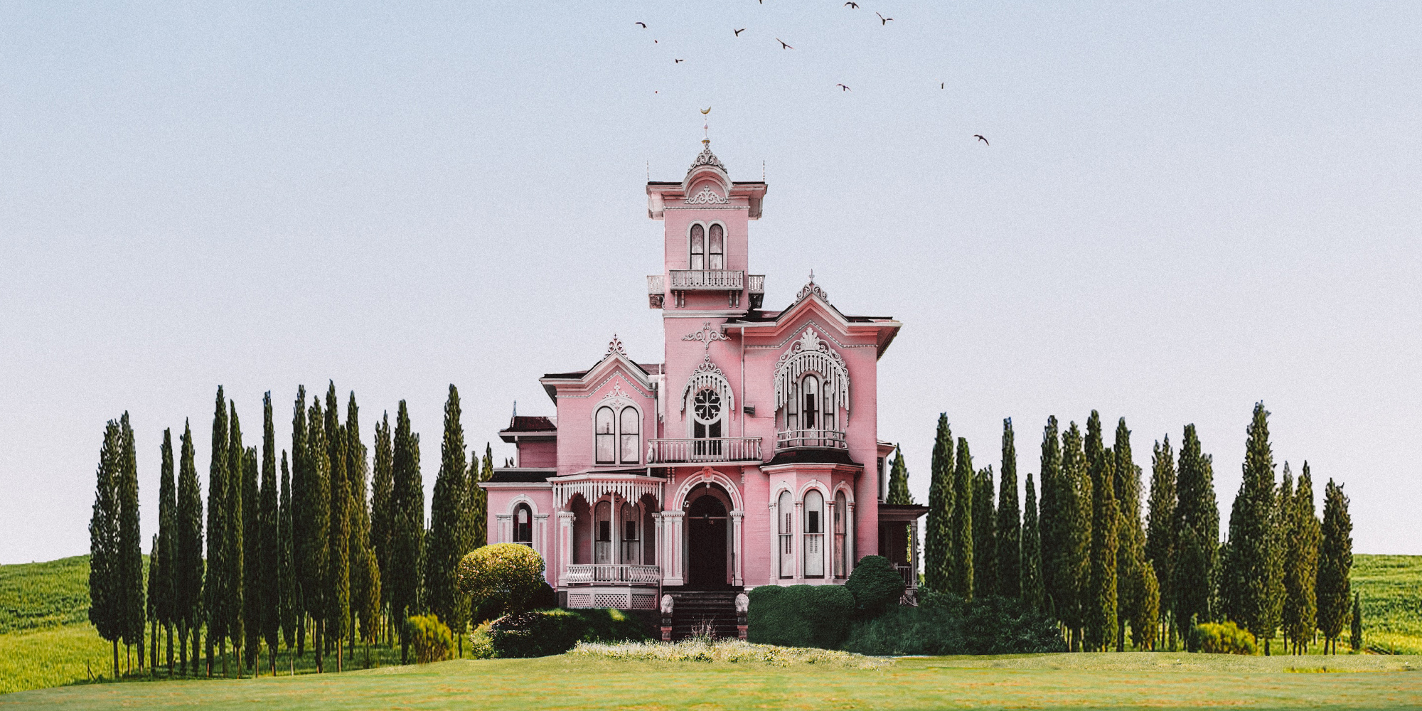 A pink house surrounded by trees