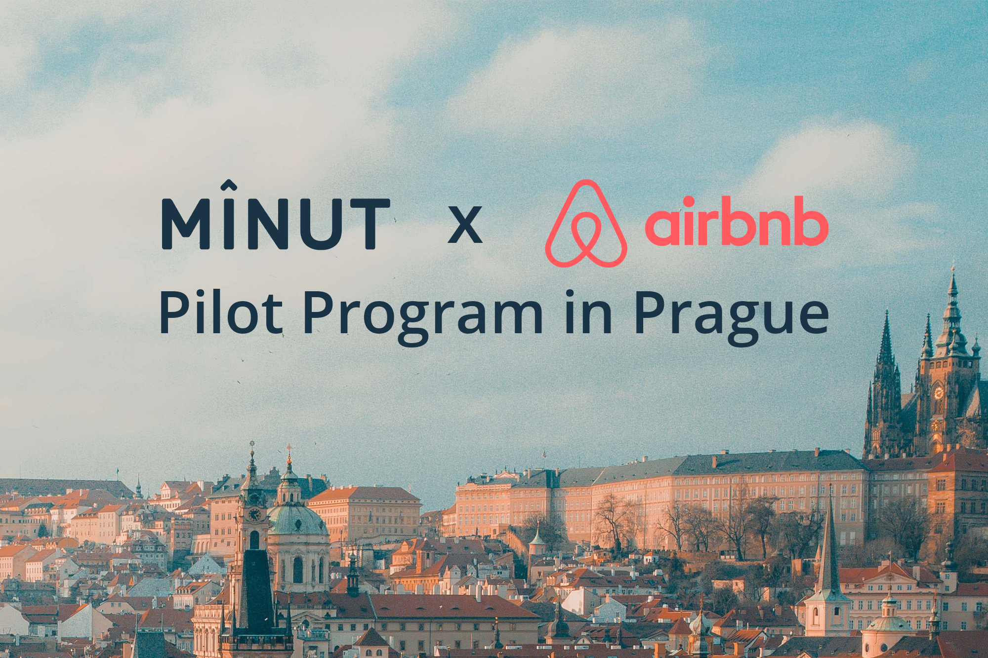 Minut and Airbnb logos over Prague landscape