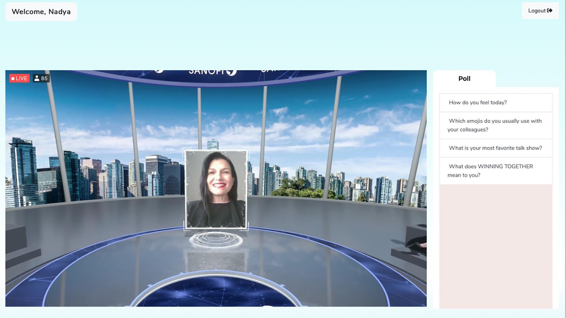 login page sanofi eventagrate virtual event stage poll