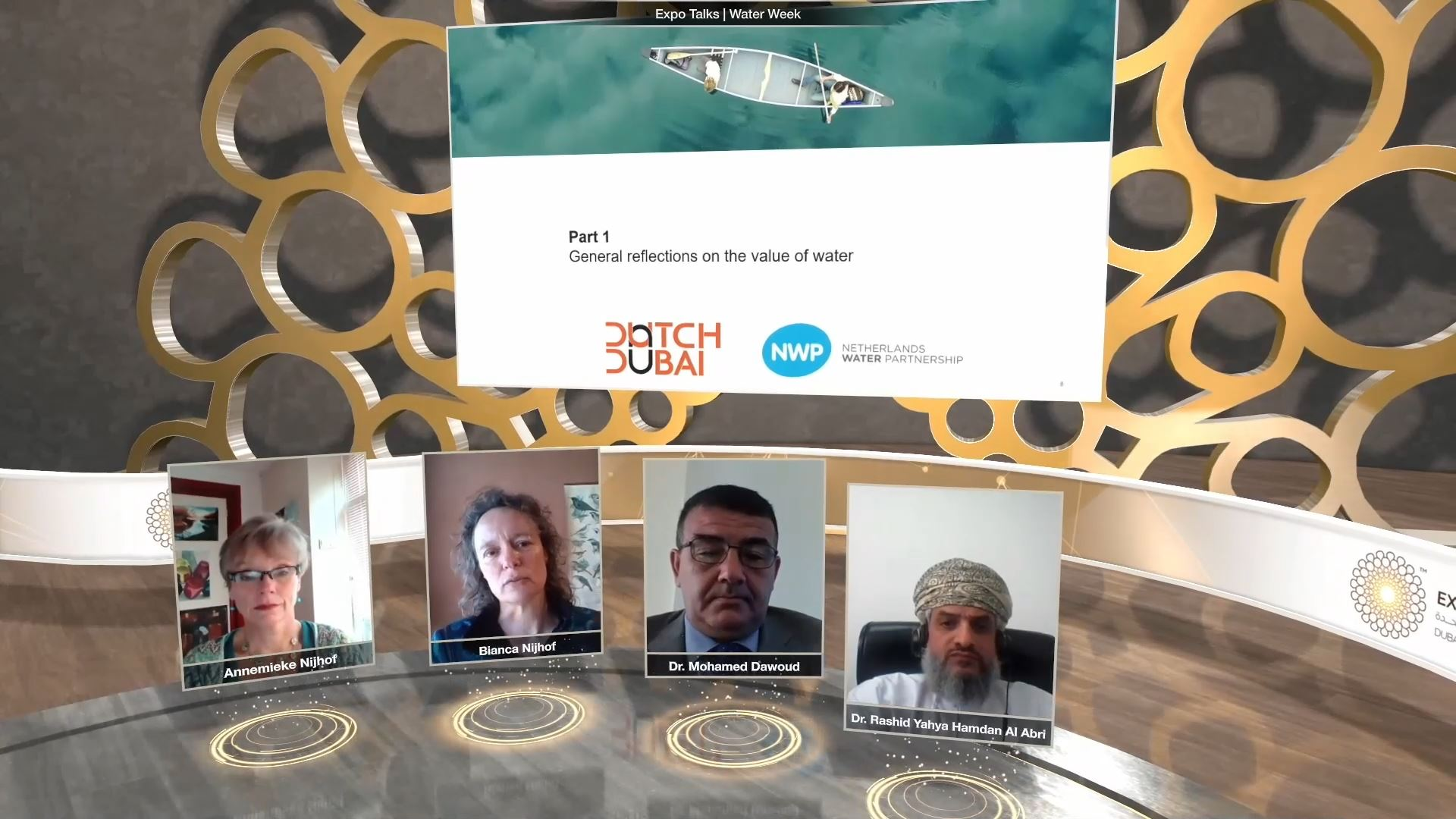 expo 2020 thematic weeks virtual event panel discussion with screen