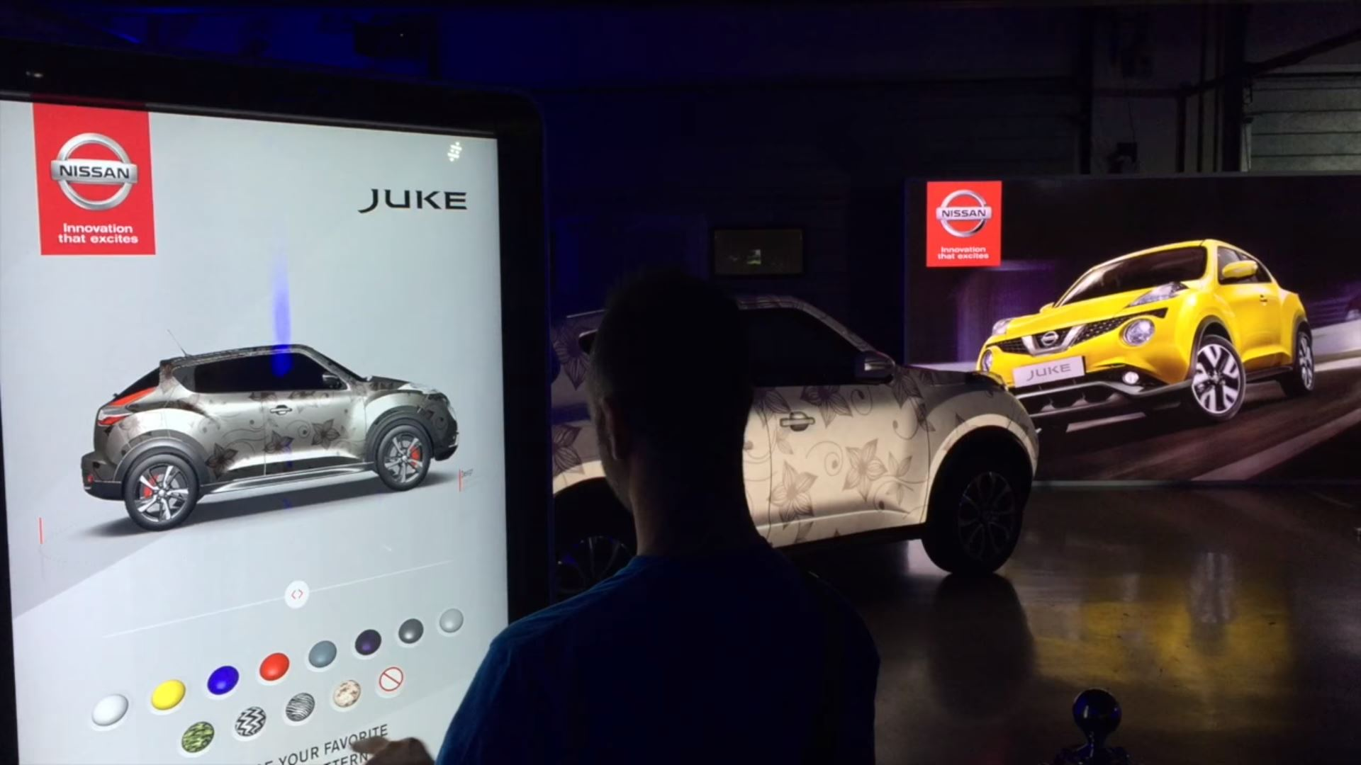 nissan eventagrate interactive projection mapping  touchscreen