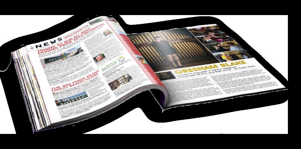 Open copy of Scene magazine.
