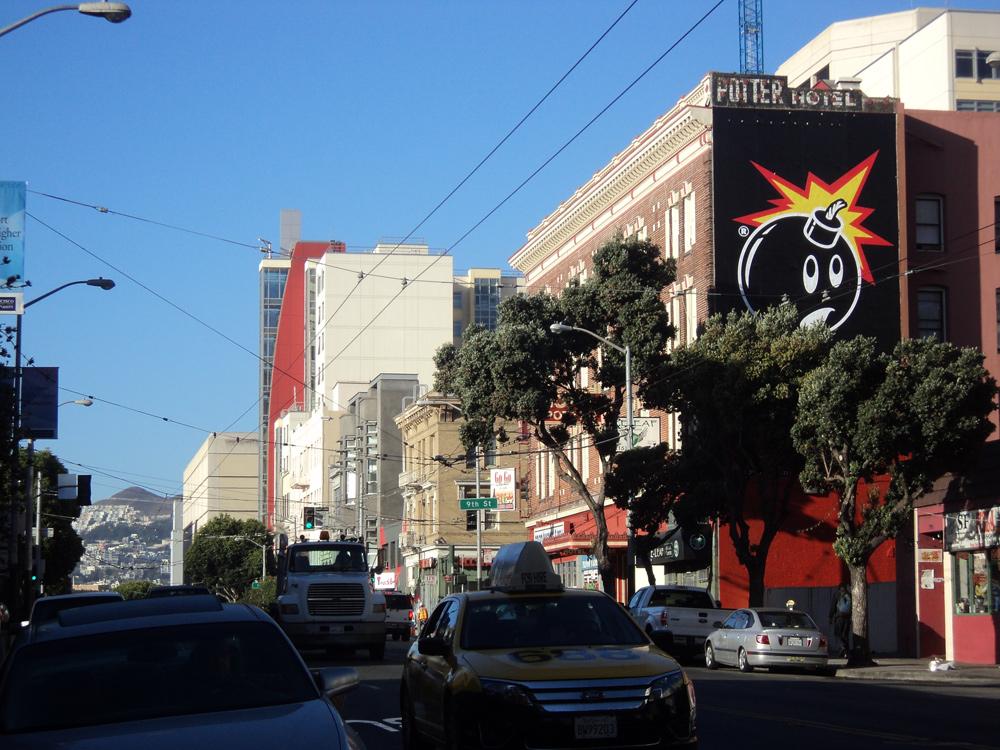 adam bomb logo on billboard in LA