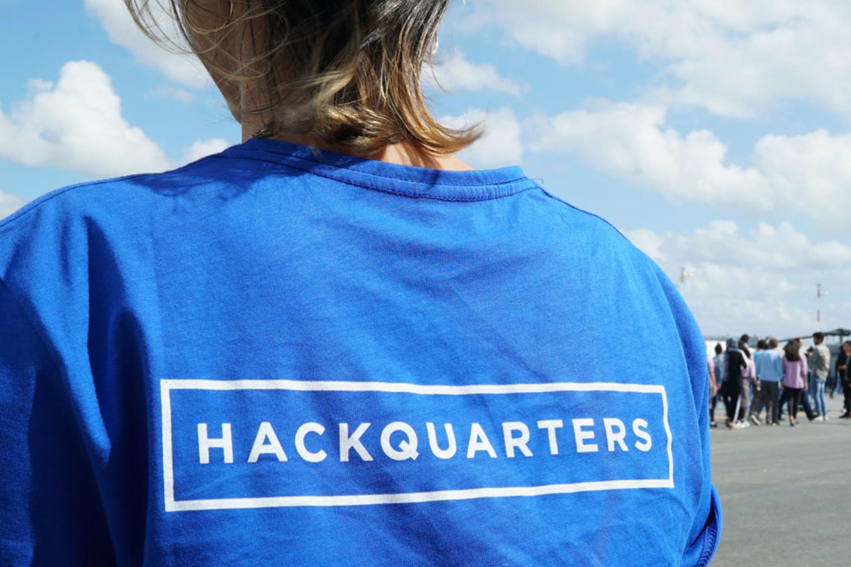 Hackquarters logo on a t-shirt